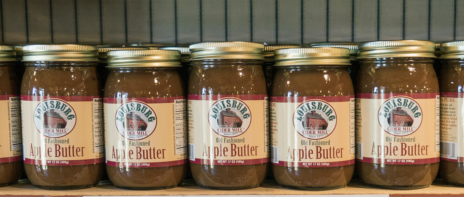 Louisburg Cider Mill Apple Butter on shelf at the Country Store