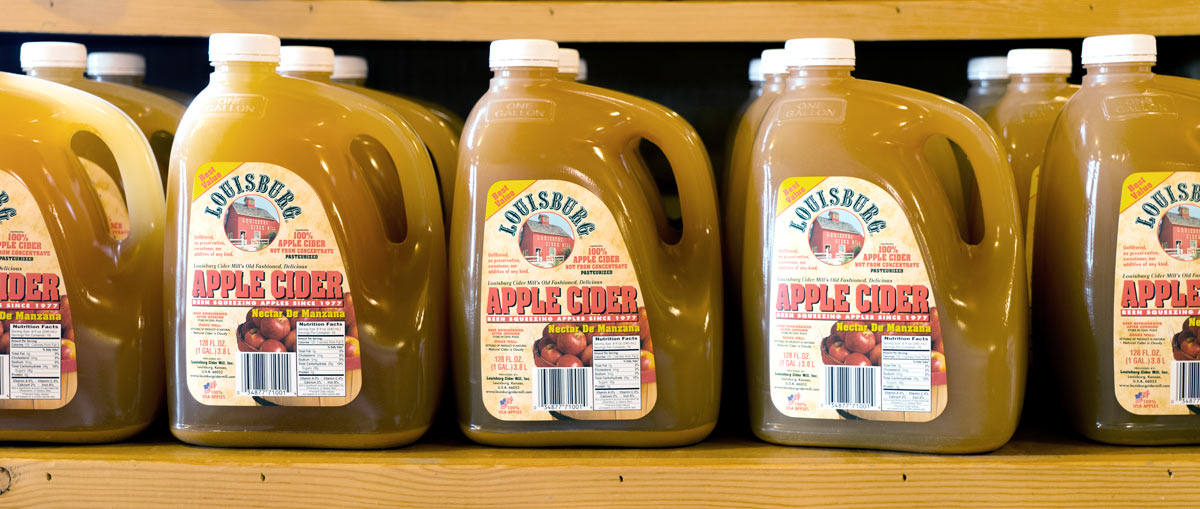 Louisburg Apple Cider jugs in the country store