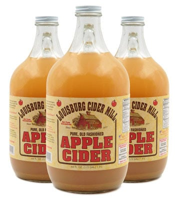 Bottles of Louisburg Cider Mill apple cider