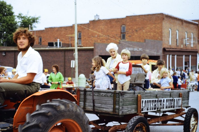 Louisburg Cider Mill Wagon in Louisburg parade