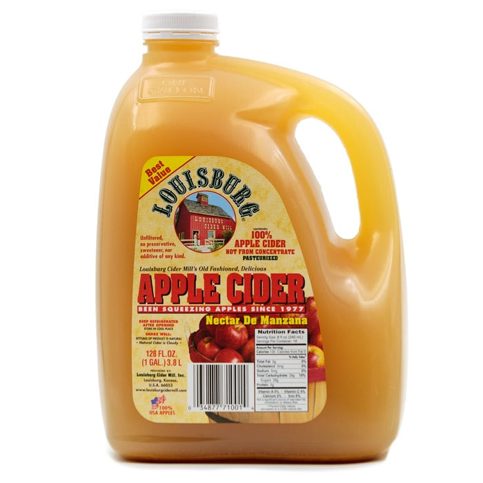 Louisburg Cider Mill Apple Cider in one gallon container