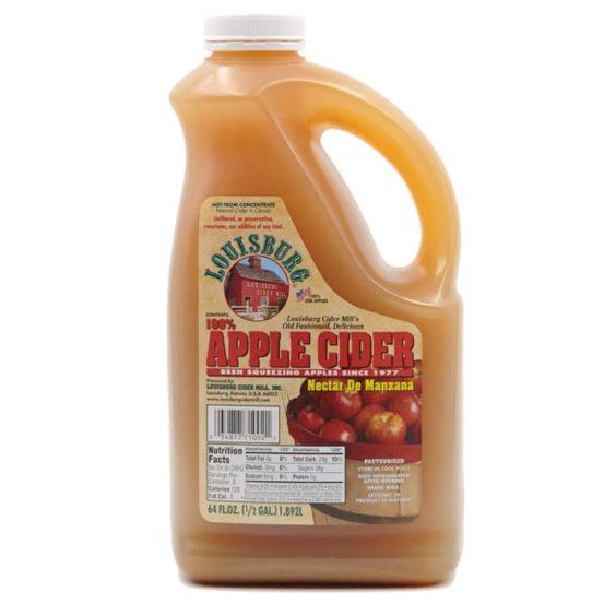 Louisburg Cider Mill Apple Cider in a half gallon jug