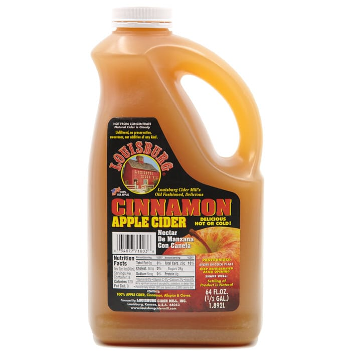 Louisburg Cider Mill Cinnamon Apple Cider half gallon jug