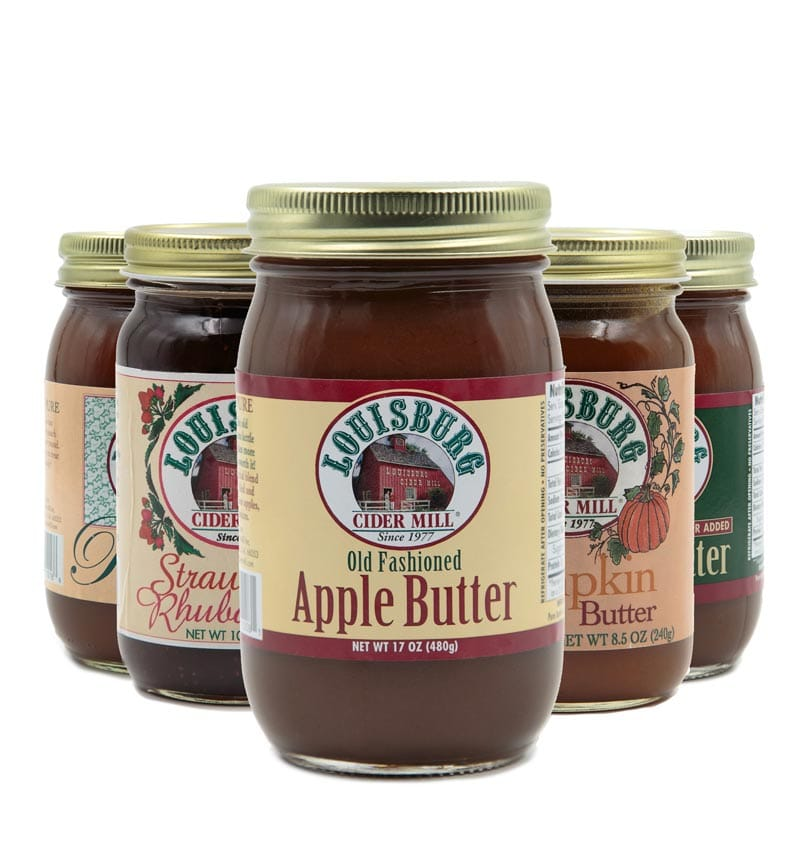 All flavors of Louisburg Cider Mill fruit butters