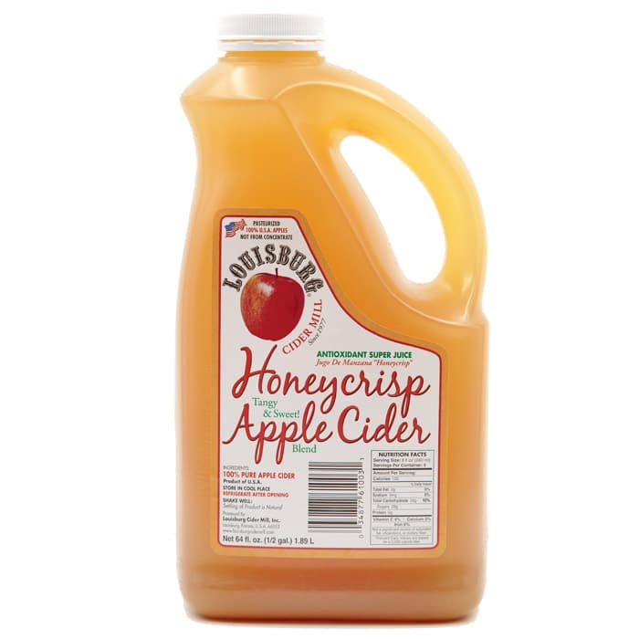 Louisburg Cider Mill Honeycrisp Apple Cider, half gallon jug