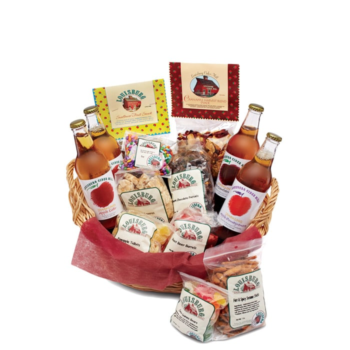 LCM Prairie basket with Sparkling apple cider, snacks and candy