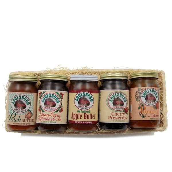 5-pack gift basket of Louisburg Cider Mill peach, apple and pumpkin butter, strawberry rhubarb jam and cherry preserves