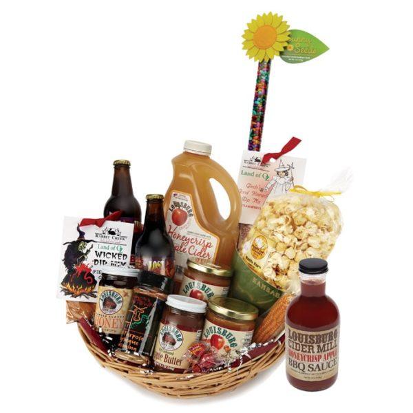 LCM Tornado Sampler Basket with cider, soda, sauces & seasonings