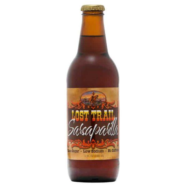 Lost Trail Soda, Sasaparilla, 12oz glass bottle