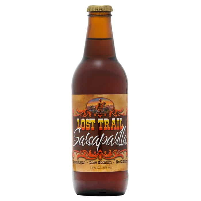 Lost Trail Soda, Sasaparilla, 12oz glass bottle