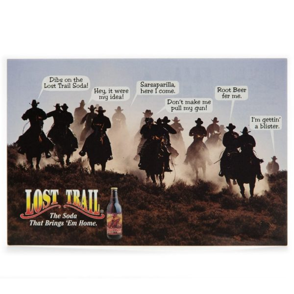Lost Trail Soda postcard with cowboys and horses