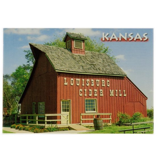 Louisburg Cider Mill Postcard with barn, front side