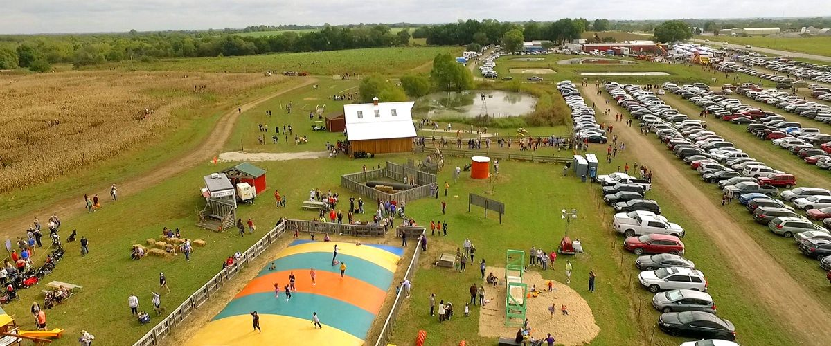 Arial view of entire grounds of Louisburg Ciderfest Fun
