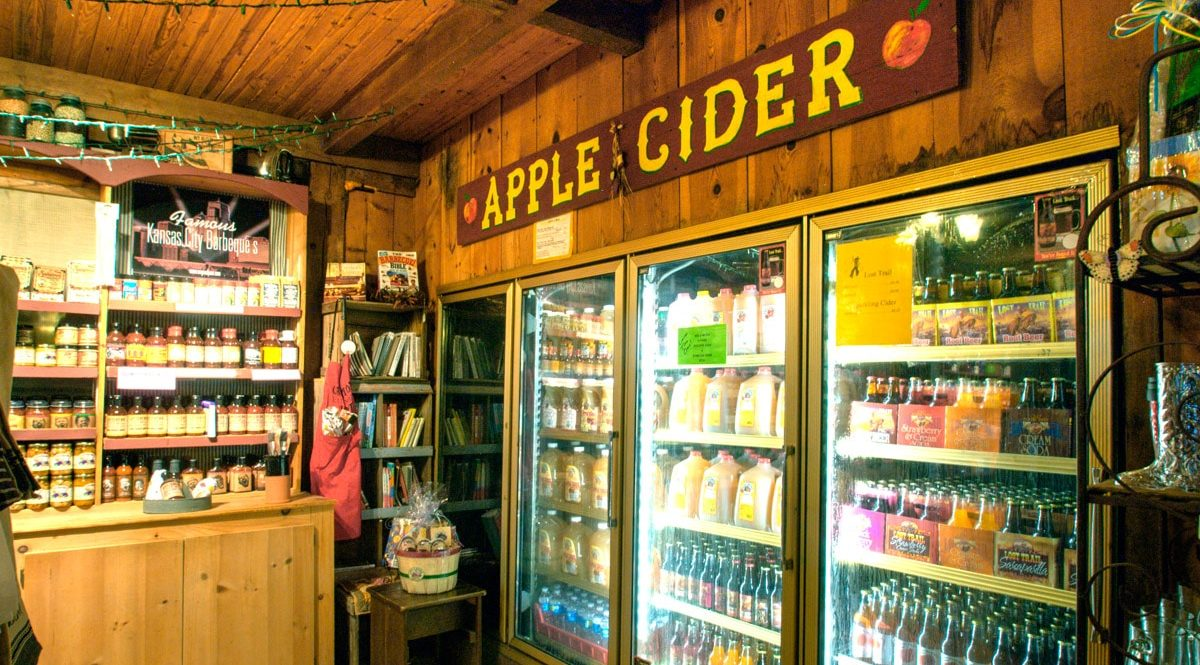 Louisburg Cider for sale in coolers in the Country Store