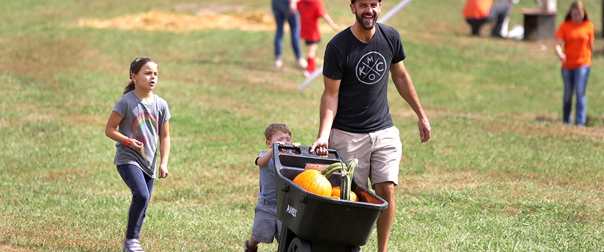 Kid pushes pumpkins in barrel at Louisburg Ciderfest