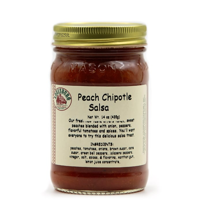14oz jar of Louisburg Cider Mill Peach Chipotle Salsa