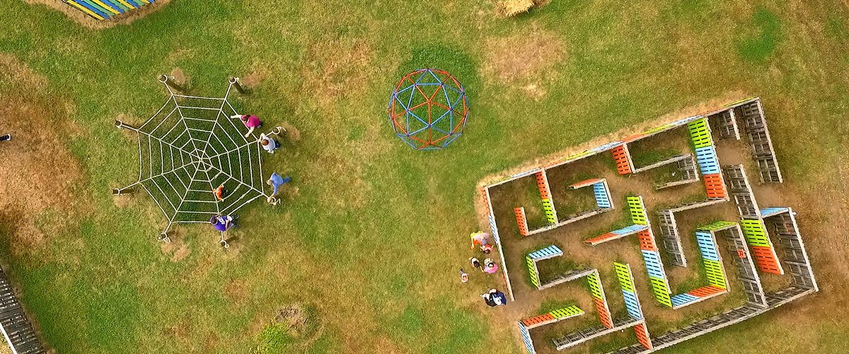 Aerial view of kids fall activities at Louisburg Ciderfest