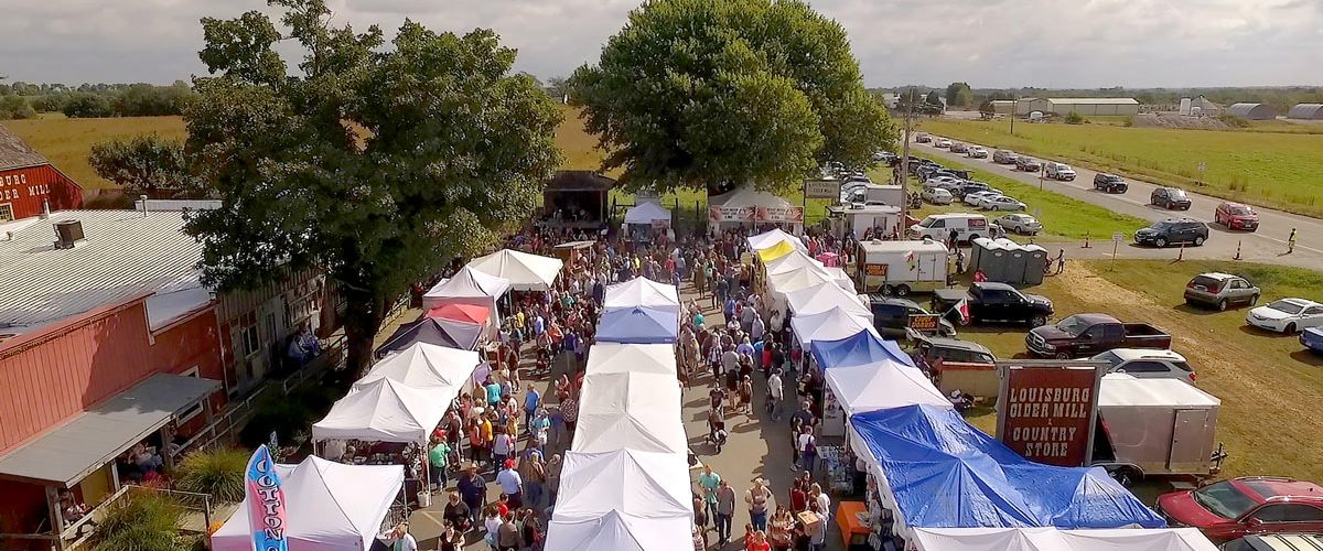 Arial view of vendor booths at Louisburg Cider Mill Ciderfest