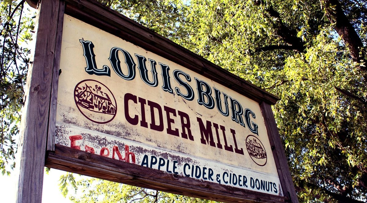 Vintage sign of Louisburg Cider Mill