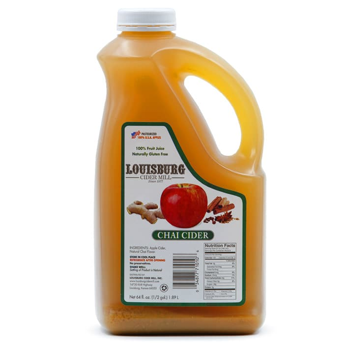 Louisburg Cider Mill Chai Apple Cider in half gallon jug