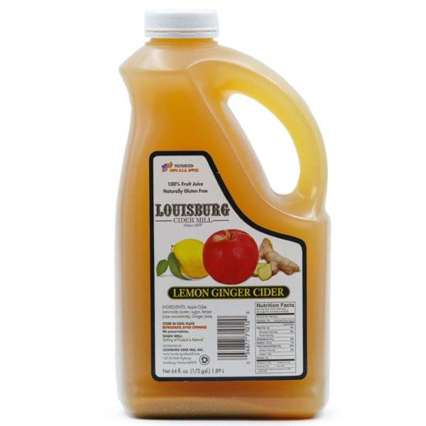 Louisburg Cider Mill Lemon Ginger Cider in a half gallon jug