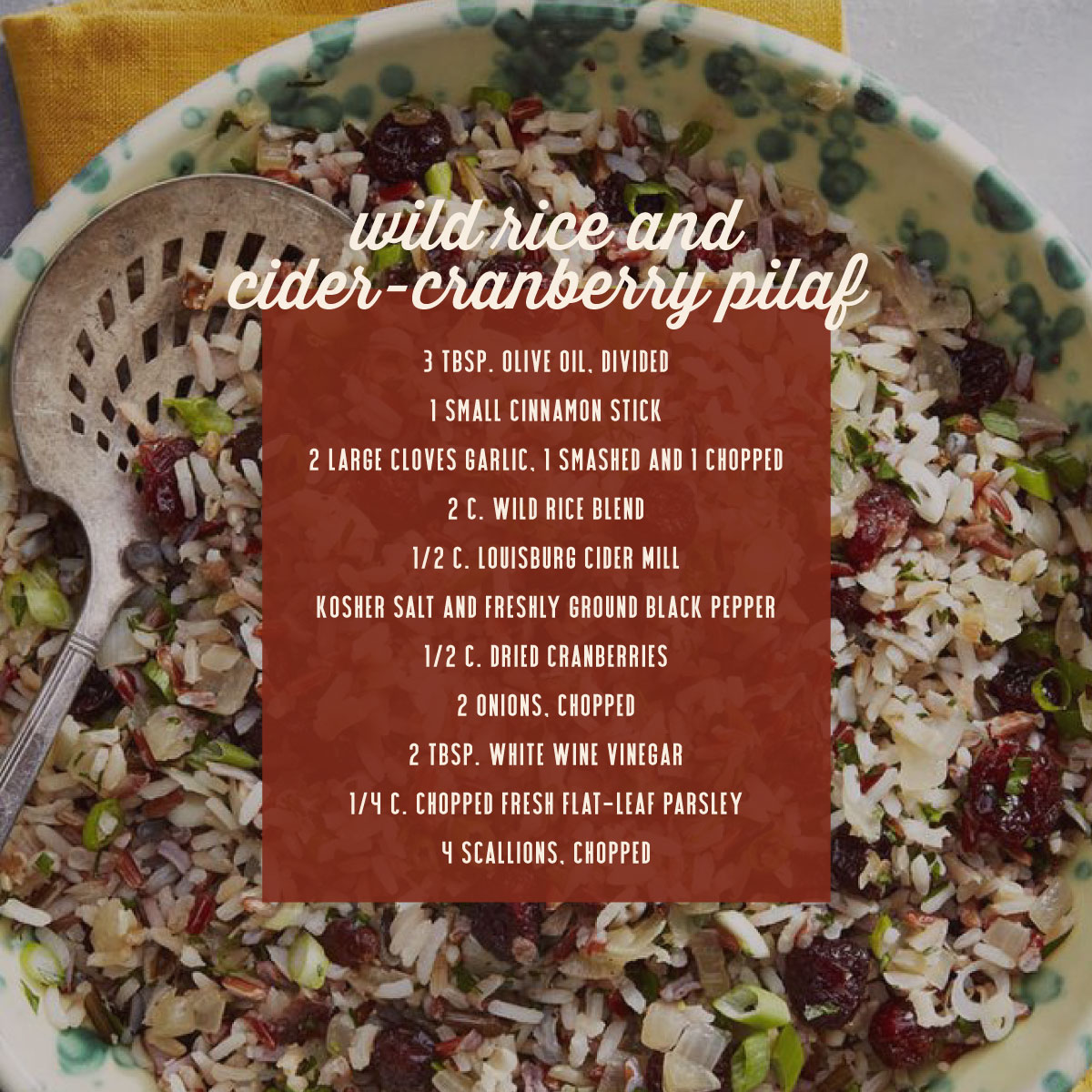 Wild rice and cider-cranberry pilaf